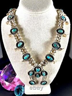 Vintage Navajo Sterling Silver Bisbee Blue Turquoise Squash Blossom 26 Necklace
