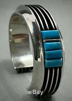 Vintage Navajo Sterling Silver Channel Turquoise Cobblestone Inlay Cuff Bracelet