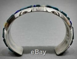 Vintage Navajo Sterling Silver Turquoise Cobblestone Inlay Cuff Bracelet