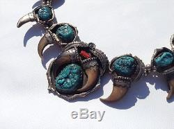 Vintage Navajo Sterling Silver Turquoise / Coral Squash Blossom Necklace 290 Gr