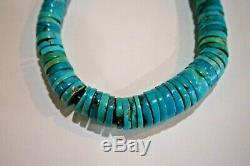 Vintage Navajo Turquoise Heishi Bead Sterling Silver Necklace