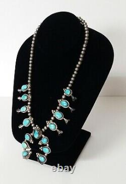 Vintage Navajo Turquoise Squash Blossom Sterling Silver Necklace 19