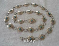 Vintage Nel J Sterling Blue Turquoise Concho Belt 39 Navajo Silver