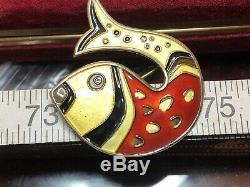 Vintage Norwegian Sterling Silver David Andersen Norway Enamel Fish Brooch