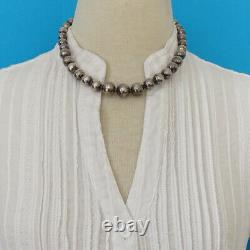 Vintage Old Mexico Graduated Sterling Silver Bead Choker Necklace Mexican Pearls