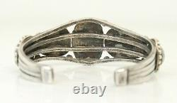 Vintage Old NAVAJO 5 Stone Turquoise Sterling Silver Cuff Bracelet