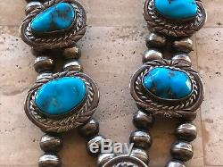 Vintage Old Navajo Signed Squash Blossom Turquoise Sterling Silver Necklace