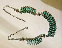 Vintage Old Pawn ZUNI Petit Point Necklace Sterling Silver Turquoise 3 parts