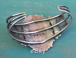 Vintage Pawn Native American Sterling Silver Turquoise Cluster Cuff Bracelet