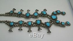 Vintage Pawn Navajo Squash Blossom Necklace Turquoise Sterling Silver