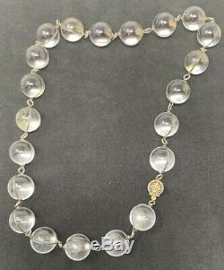 Vintage Pools of Light Sterling Silver 18 Inch Necklace with 21 Rock Crystal Orbs