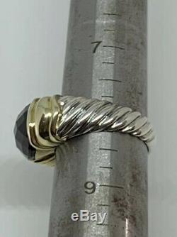 Vintage Retired David Yurman Sterling Silver 14K Yellow Gold Cable Garnet Ring