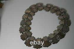 Vintage Rivera Mexican Matl Style Sterling Silver Massive Necklace Earrings Set