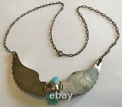 Vintage Sheila Tso Navajo Sterling Silver Turquoise Eagle Pendant Necklace