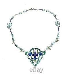 Vintage Silver Art Nouveau Floral Enamel Pendant