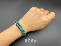 Vintage Southwestern Sterling Silver Faux Turquoise Stampwork Bracelet Cuff