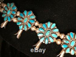 Vintage Squash Blossom necklace and matching ring, signed