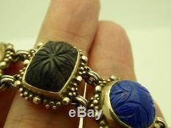 Vintage Stephen Dweck Sterling Silver Opal Lapis Onyx Multi-Stone 7 Bracelet