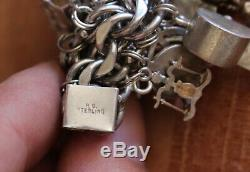 Vintage Sterling Silver. 925 with A LOT of Mixed Charms Charm Bracelet Chain 9