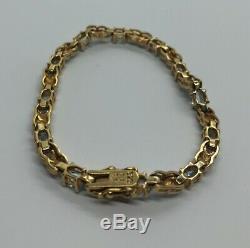 Vintage Sterling Silver Bracelet 925 7.25 Blue Topaz Vermeil Gold Tone X Tennis