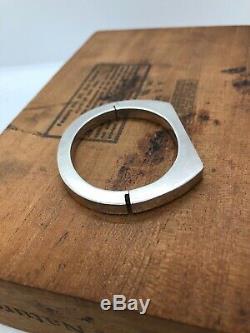 Vintage Sterling Silver Bracelet 925 Modernist Hinged Bangle Cuff