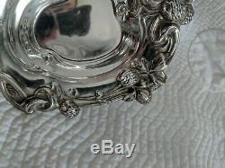 Vintage Sterling Silver Clover Pattern Motif Bon Bon Dish, 67 grams
