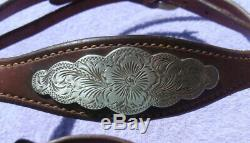 Vintage Sterling Silver Conchos Horse Show Headstall Engraved Silver Curb Bit
