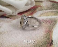 Vintage Sterling Silver Gold Ring Blue White Sapphires Antique Deco Jewelry 10