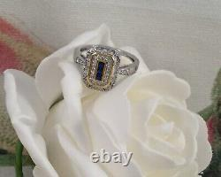 Vintage Sterling Silver Gold Ring with Blue White Sapphires Antique Jewelry 8