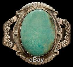 Vintage Sterling Silver Green Turquoise Cuff Bracelet