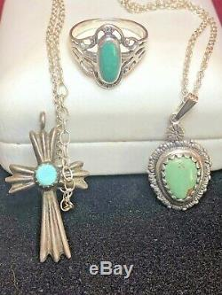 Vintage Sterling Silver Lot Carolyn Pollack Pendant Turquoise Ring Cross