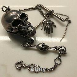 Vintage Sterling Silver Memento Mori Skull Chain Pocket Watch Key Fob