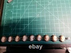 Vintage Sterling Silver Multi Carved Shell Cameo Link Bracelet