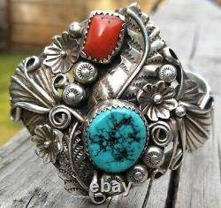 Vintage Sterling Silver Native American Turquoise Red Coral Cuff Bracelet 36.5 G