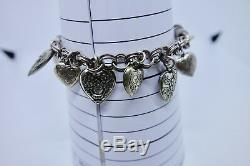 Vintage Sterling Silver Puffy Heart Charm Bracelet Loaded Repousse 11 Hearts
