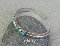 Vintage Sterling Silver Snake Eye Turquoise Row Cuff Bracelet