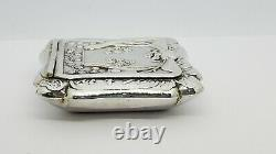 Vintage Sterling Silver Square Floral Embossed Pill Box, Hinged Lid