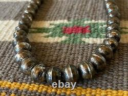 Vintage Sterling Silver Stamped Navajo Bench Bead Necklace 16 1/2 Long