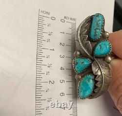 Vintage Sterling Silver Turquoise Cuff Bracelet by Zuni Artist M. Chuyate
