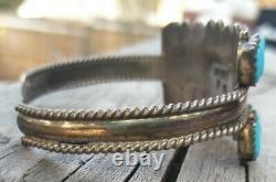 Vintage Sterling Silver Zuni Petite Point Turquoise Cuff Bracelet 17.4 Grams DJ