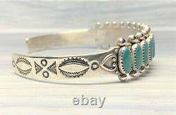 Vintage Sterling Turquoise Zuni Style Cuff Bracelet