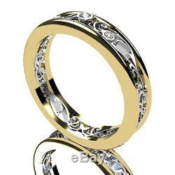 Vintage Style Round Diamond Unique Wedding Band Ring 14K Two Tone Gold Finish