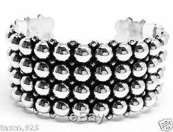 Vintage Style Taxco Mexican 925 Sterling Silver Beaded Bead Cuff Bracelet Mexico
