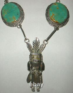 Vintage Thomas Bird Red Mesa Navajo sterling silver turquoise kachina necklace