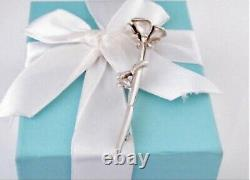 Vintage Tiffany & Co Sterling Silver Rose Stem Brooch pin