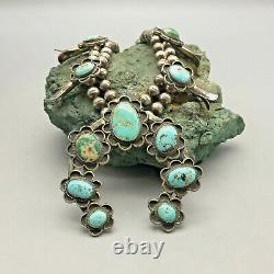 Vintage Traditional Navajo Style Squash Blossom Necklace