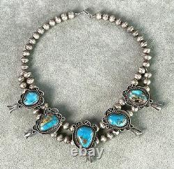 Vintage Turquoise Squash Blossom Necklace 16 Sterling Bench made Beads Navajo