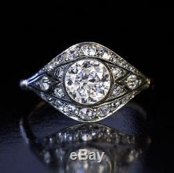Vintage Victorian Edwardian 1.20Ct Diamond Engagement Bezel Ring Circa 1910's