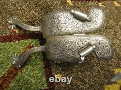 Vintage Vogt Western Spurs Star Marked Engraved Sterling Silver Overlay