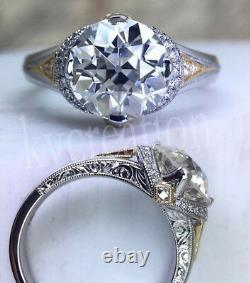 Vintage White Moissanite 2.11Ct Old Mine Cut Engagement 925 Sterling Silver Ring
